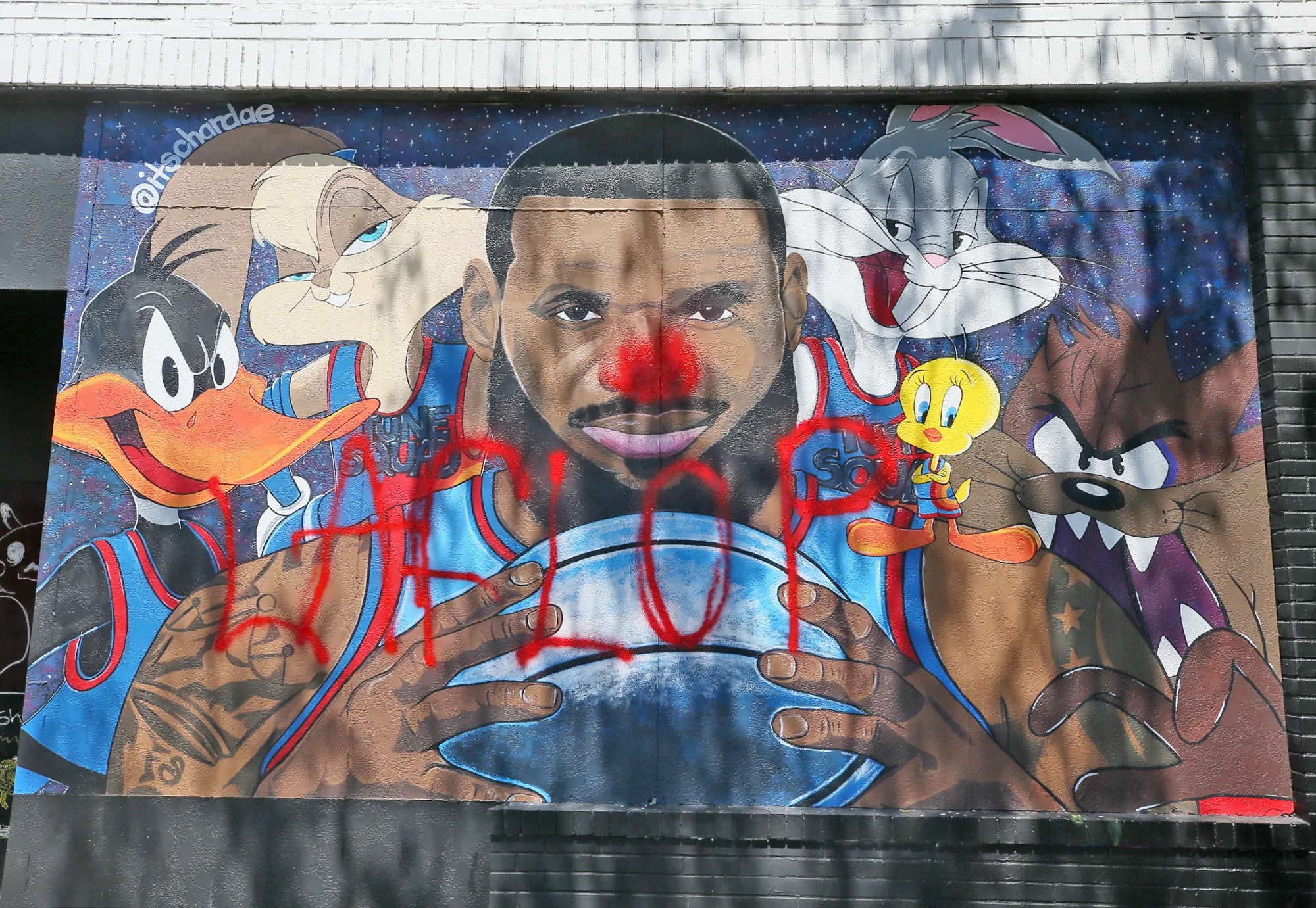 LeBron James Space Jam Mural Vandalized