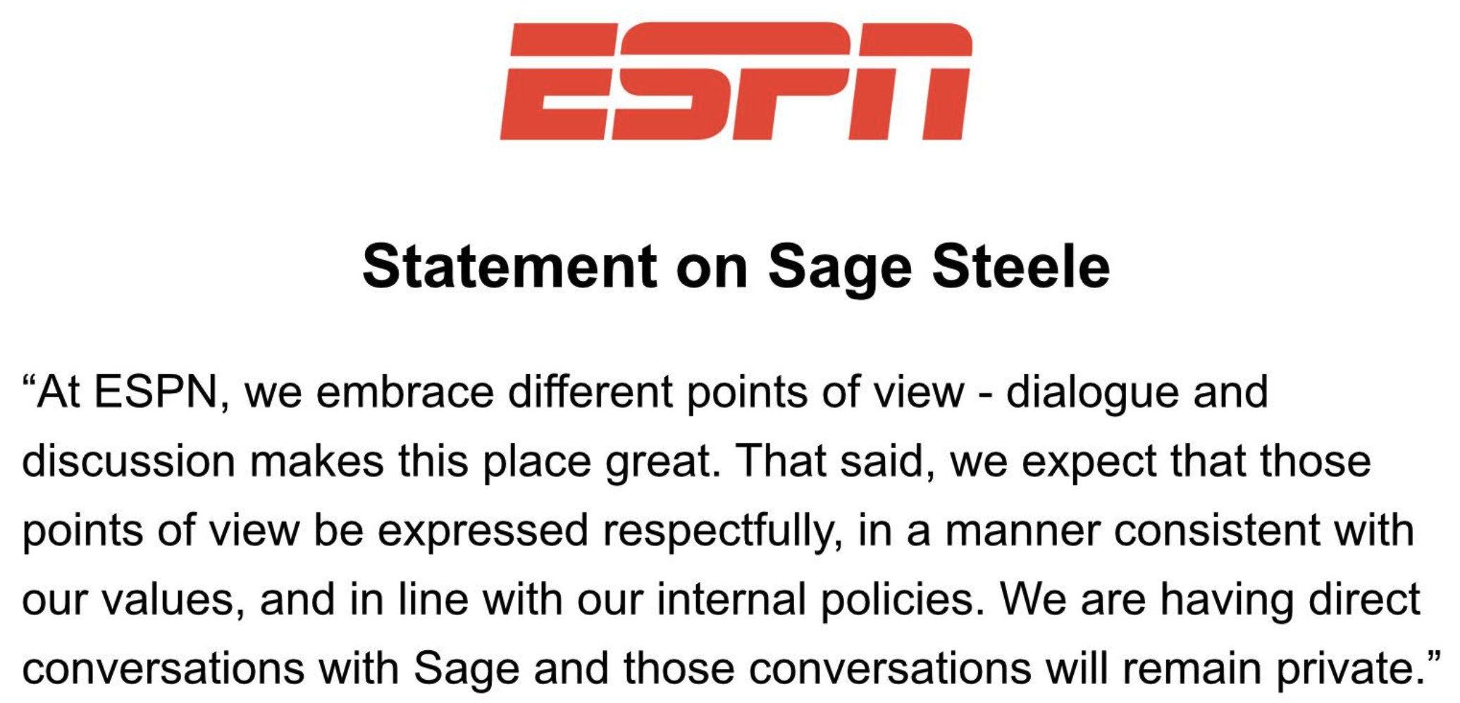 ESPN Removes Sage Steele Criticizing Company Vaccination Policy